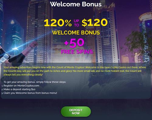 Welcome Bonus at Monte Cryptos Casino