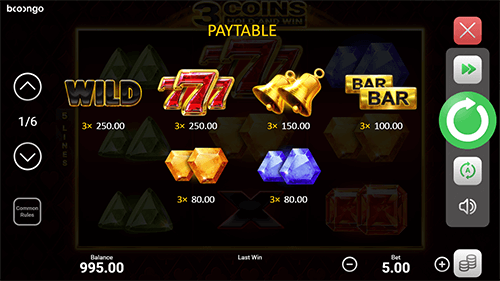 3 Coins Hold and Win Slot Paytable