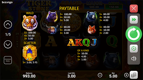 Tiger Stone Hold and Win Bonus Game